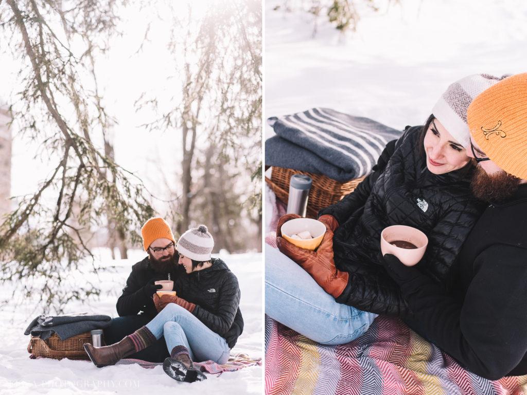 FIANCAILLES chocolat chaud pique nique hiver engagement photo 1024x768 - Séance fiançailles dans la neige: Audrey-Ann + Pascal