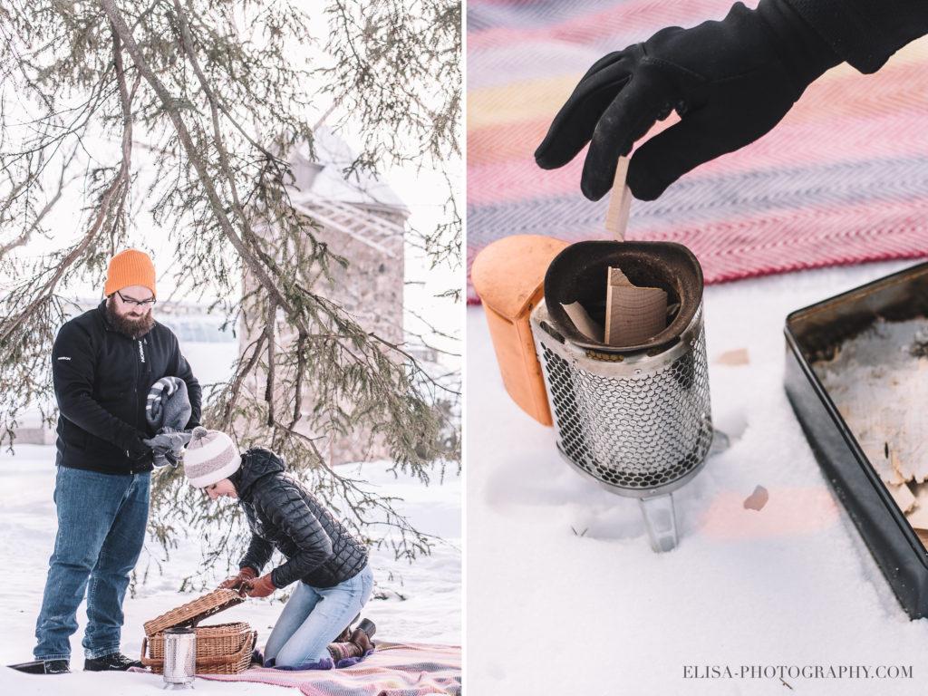 FIANCAILLES pique nique ville quebec hiver winter engagement hot chocolate chocolat chaud photo 2 1024x768 - Séance fiançailles dans la neige: Audrey-Ann + Pascal