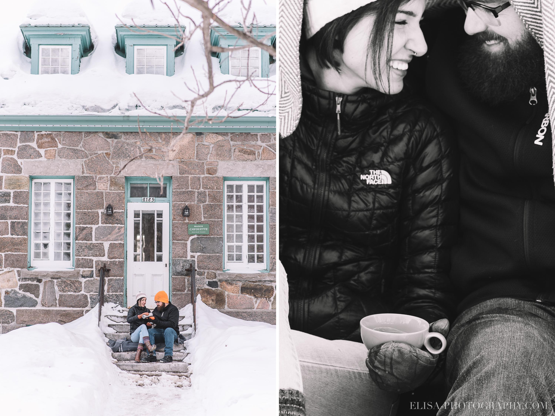 couple hiver fiancaille chocolat chaud hot chocolate winter engagement quebec city photo