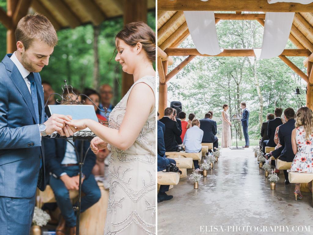MARIAGE francais cérémonie bagues gazebo pergola chalet bois rond québec photo 7782 1024x768 - Mariage avec une touche vintage dans un chalet en bois ronds: Marine & François-Rémi