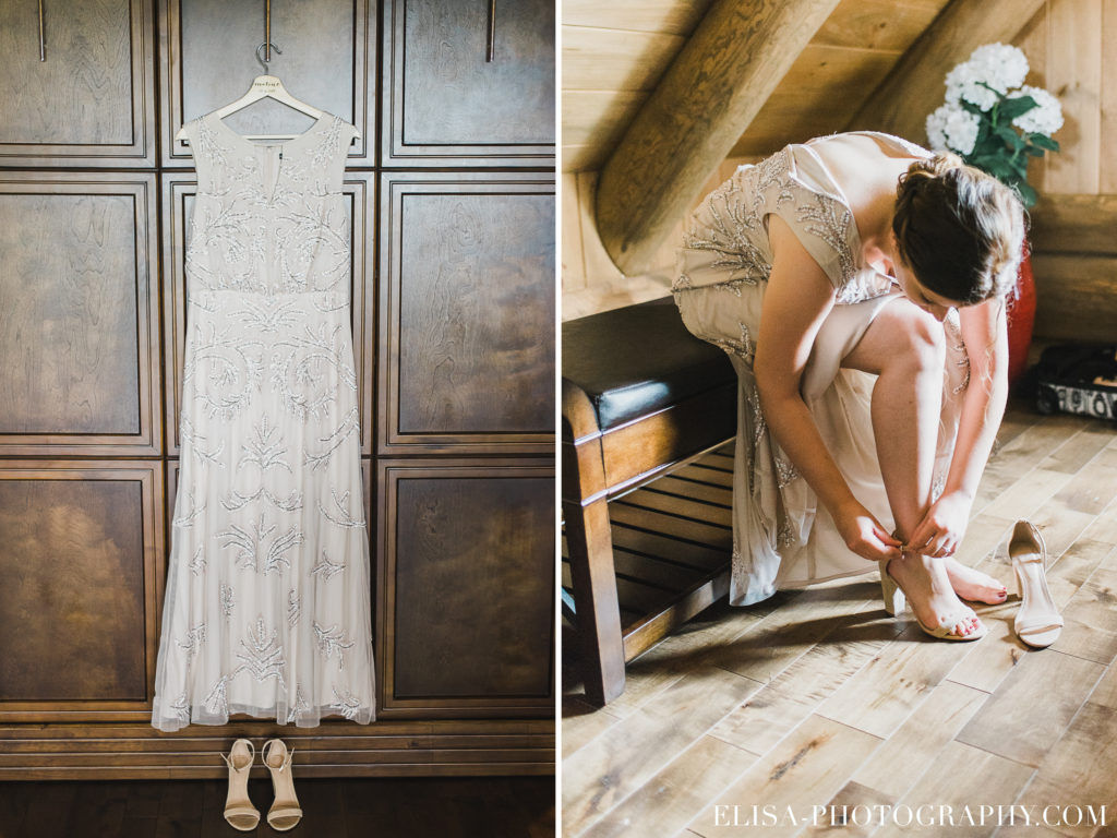 MARIAGE francais robe mariée beige vintage souliers chalet bois rond québec photo 7782 1024x768 - Mariage avec une touche vintage dans un chalet en bois ronds: Marine & François-Rémi