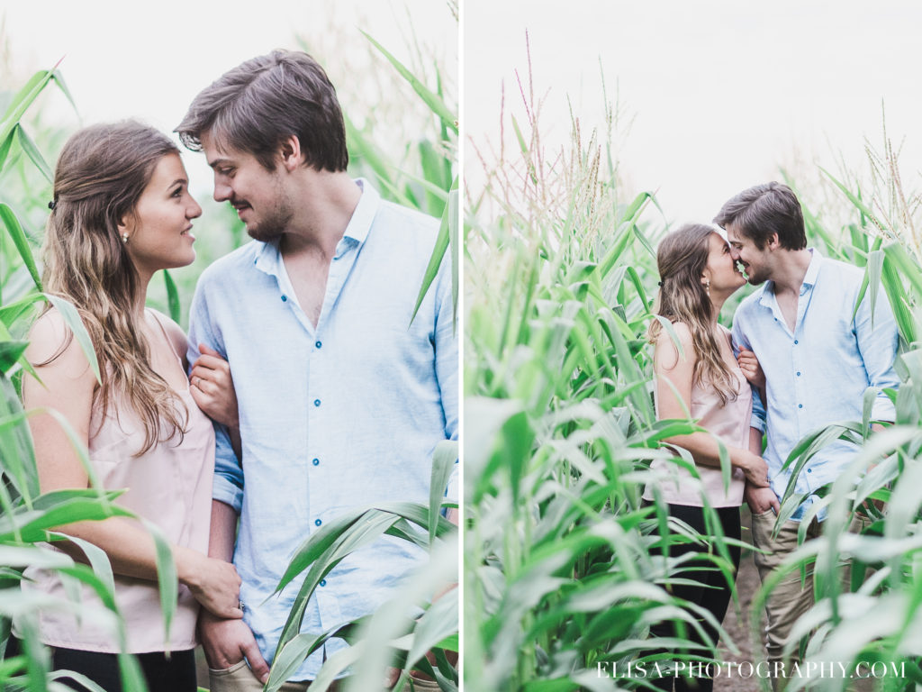FIANCAILLES champs blé d inde coucher de soleil ile orléans photo 1024x768 - Fiançailles à l'île d'Orléans: Claudia + Jack