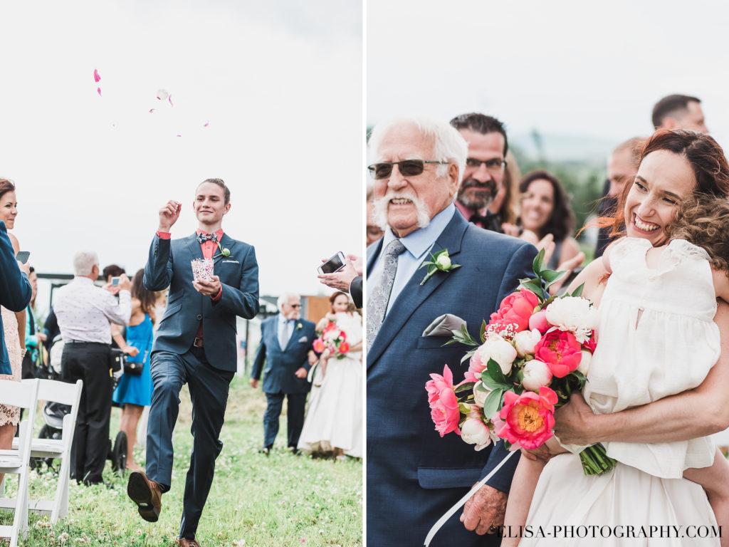 MARIAGE cérémonie entrée mariée bouquetière page drôle le germain charlevoix photo 1024x768 - Mariage en toute élégance à l'hôtel Le Germain de Charlevoix: Véronique & Eric