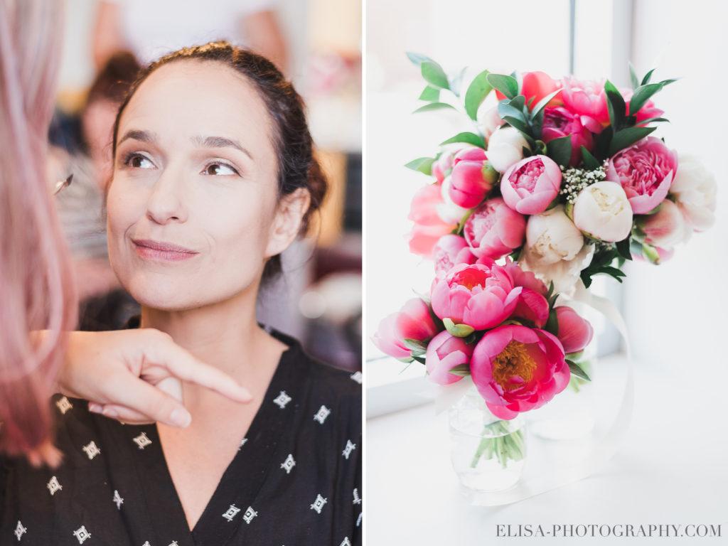 MARIAGE maquillage mariée fleurs bouquet pivoines rose le germain charlevoix photo 1024x768 - Mariage en toute élégance à l'hôtel Le Germain de Charlevoix: Véronique & Eric