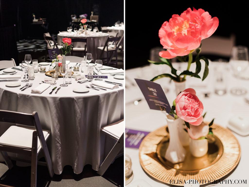 MARIAGE réception centre de table pivoines roses le germain charlevoix photo 1024x768 - Mariage en toute élégance à l'hôtel Le Germain de Charlevoix: Véronique & Eric