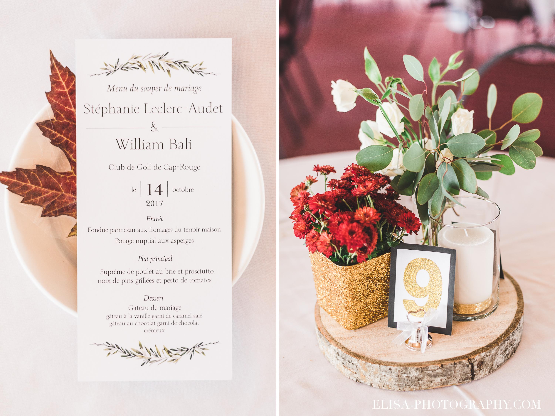 PHOTO MARIAGE QUEBEC GOLF CAP ROUGE CENTRE DE TABLE ROUGE OEILLET FEUILLE ÉRABLE MENU - Mariage au Golf de Cap-Rouge, ville de Québec: Stéphanie & William