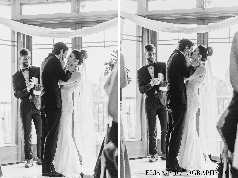 photo mariage a la montagne quebec domaine tomali maniatin ceremonie baiser des maries - Mariage à la montagne au domaine Tomali-Maniatyn