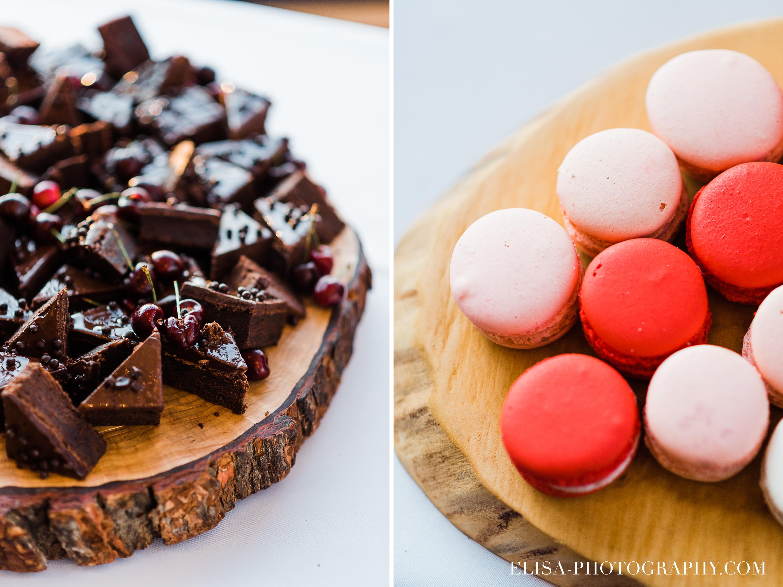 photo mariage quebec baie beauport salle reception table a desserts brownies macarons - Mariage à la plage de la baie de Beauport