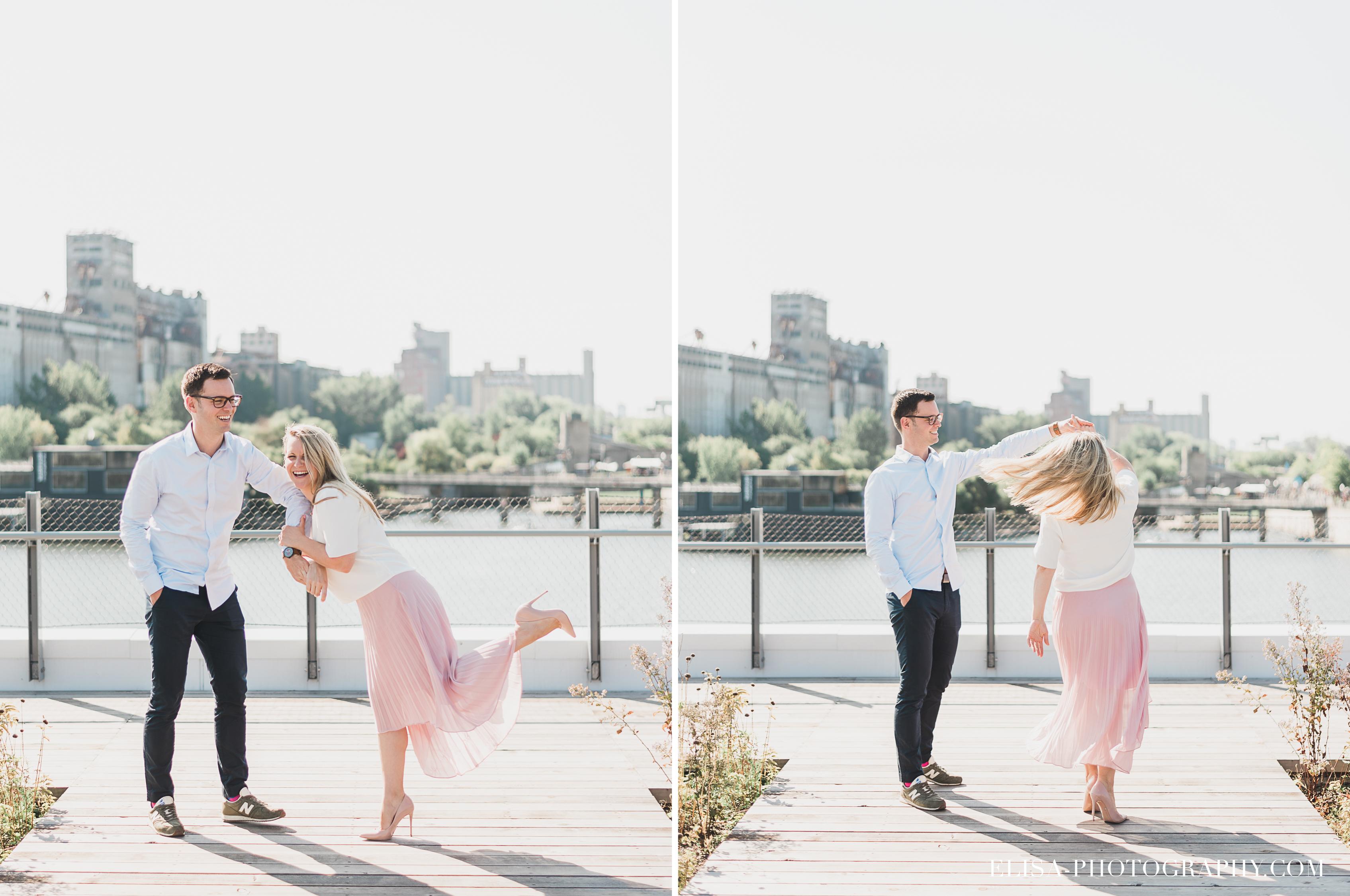 photo couple fiançailles engagement vieux port montreal lumineuse naturelle romantique danse - Séance fiançailles dans le vieux-port