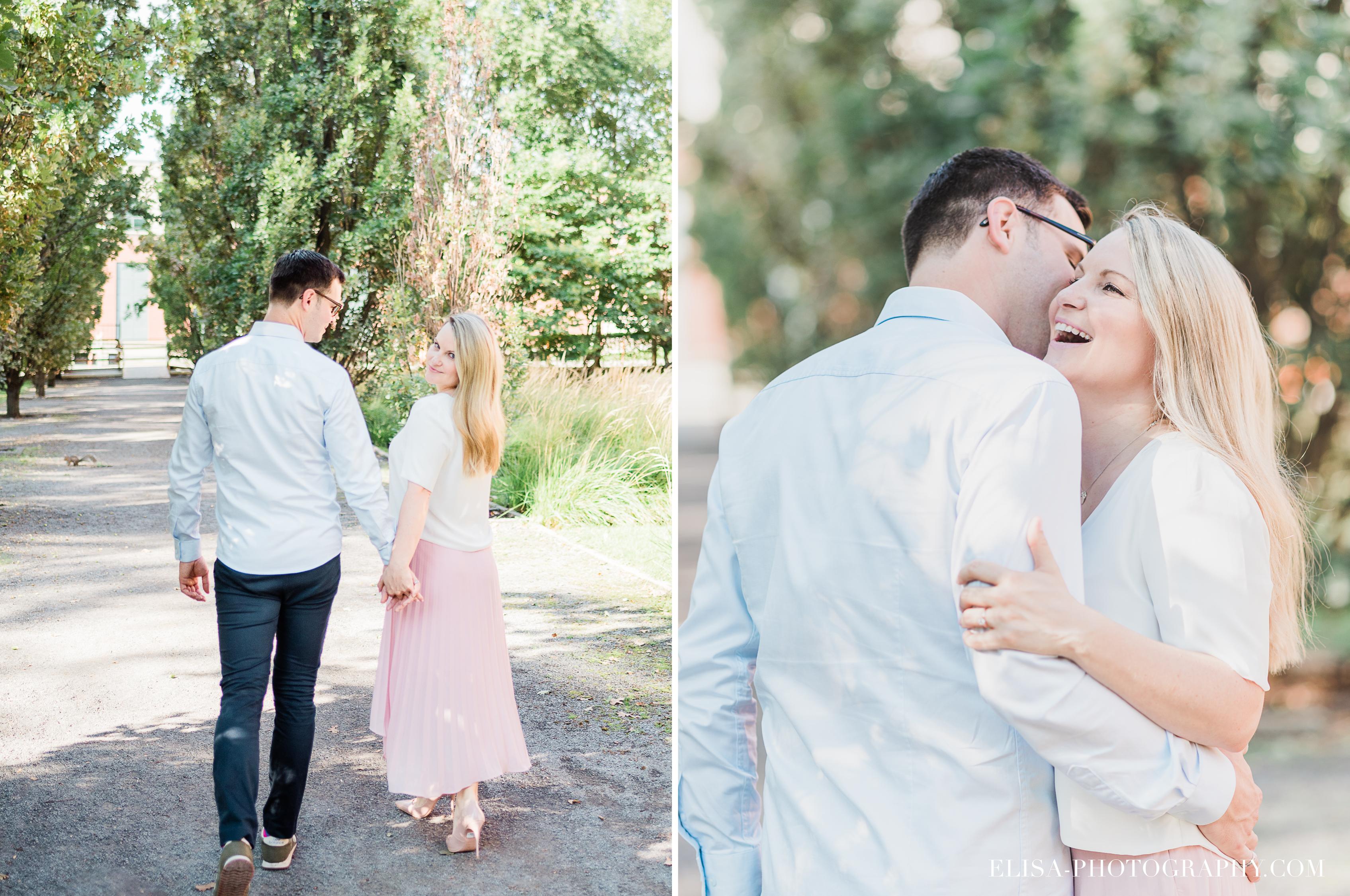 photo couple fiançailles engagement vieux port montreal lumineuse naturelle romantique jupe rose - Séance fiançailles dans le vieux-port