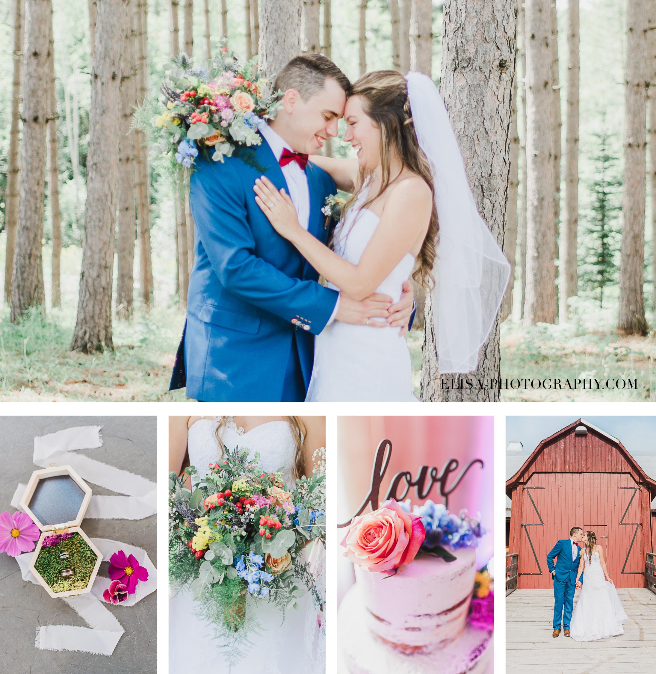 photos de mariage colorées dans une grange