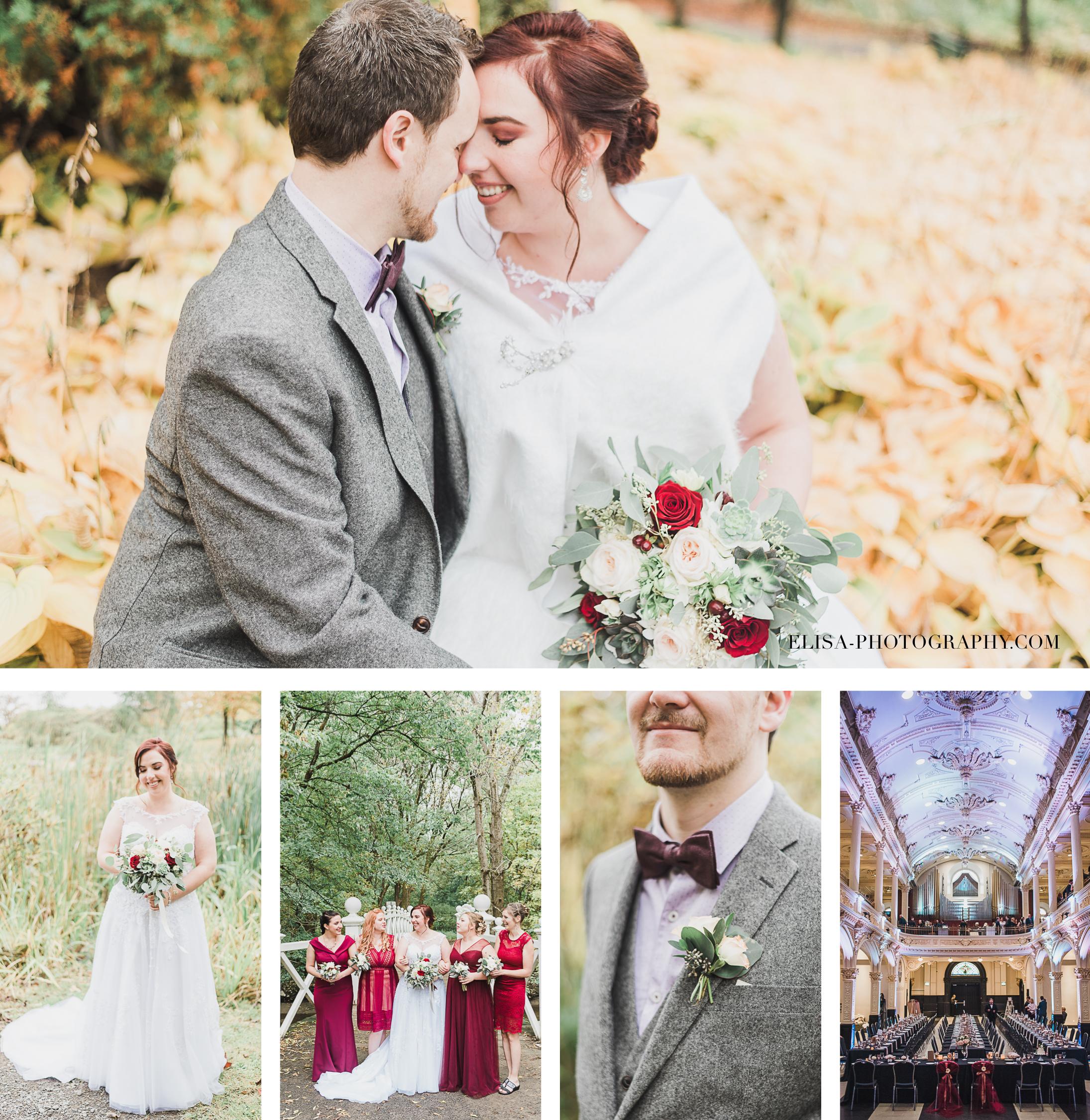 photos de mariage a Quebec au domaine Maizeret et l'espace saint-Gregoire en automne au couleur bourgogne marron et rouge