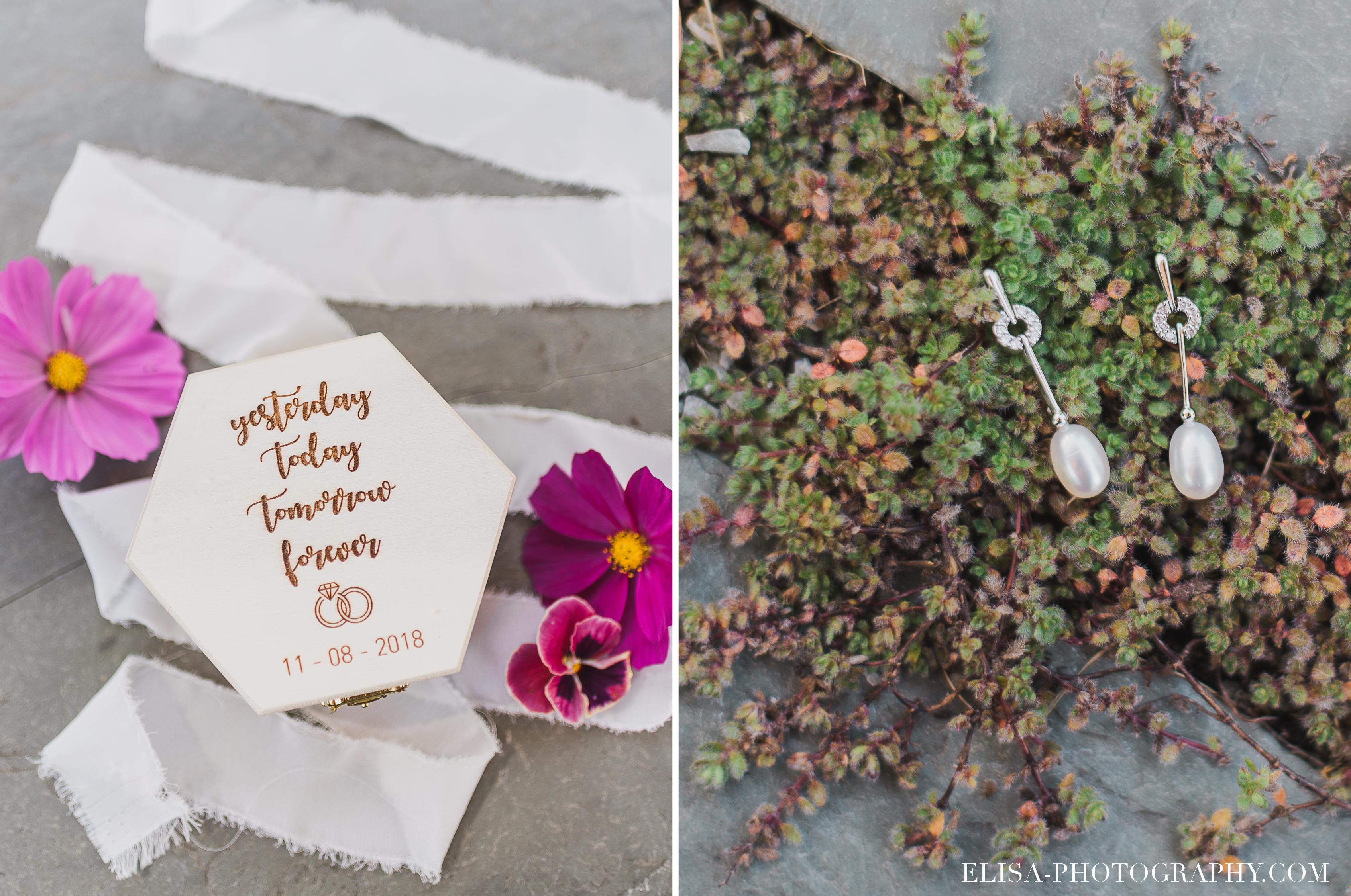photo mariage grange rouge quebec boucles orreilles boites alliances classique - Mariage coloré à la grange rouge de Brompton