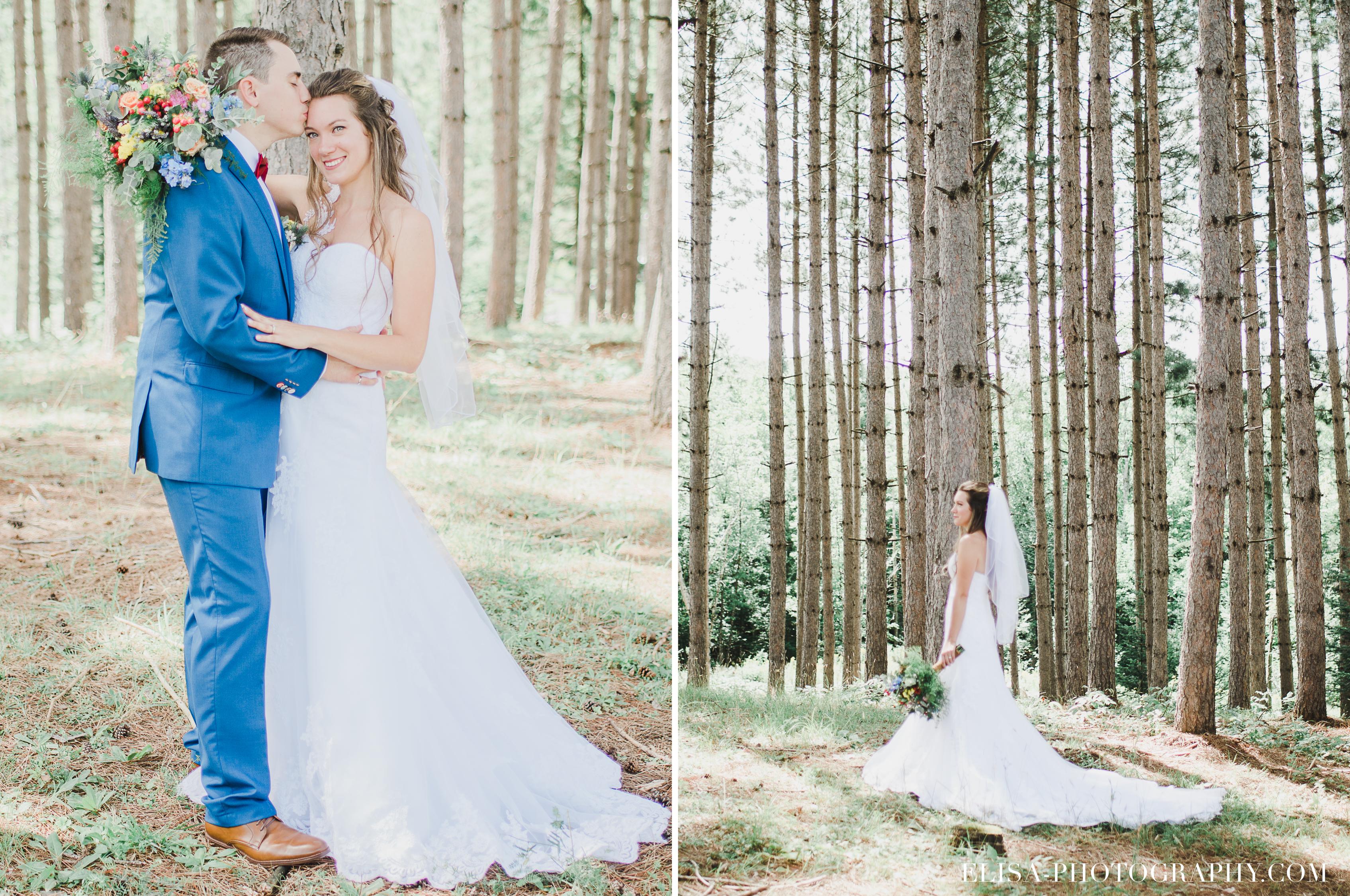 photo mariage grange rouge quebec foret conifere sapin - Mariage coloré à la grange rouge de Brompton