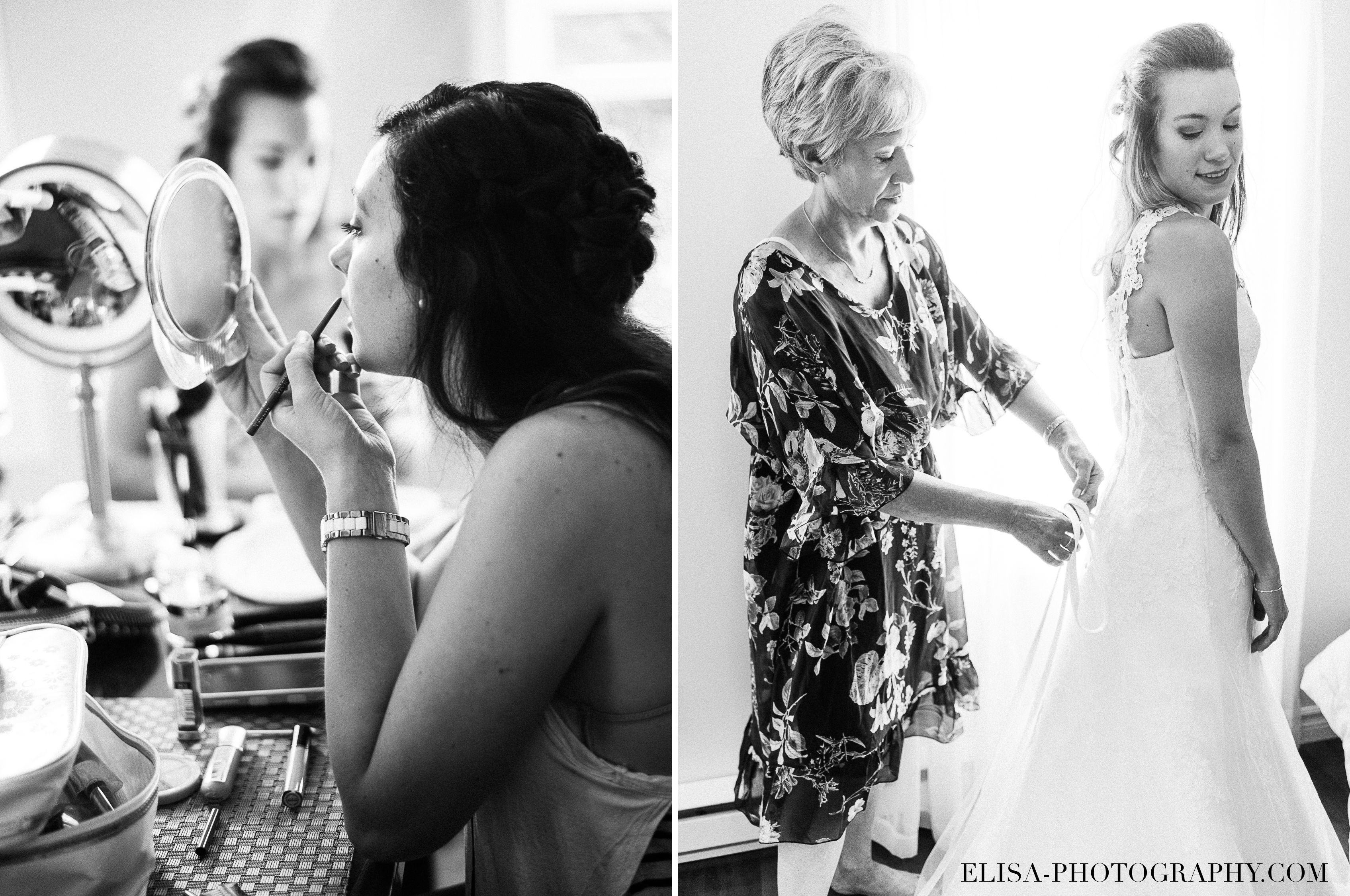 photo mariage grange rouge quebec preparatifs maman mariee robe maquillage - Mariage coloré à la grange rouge de Brompton