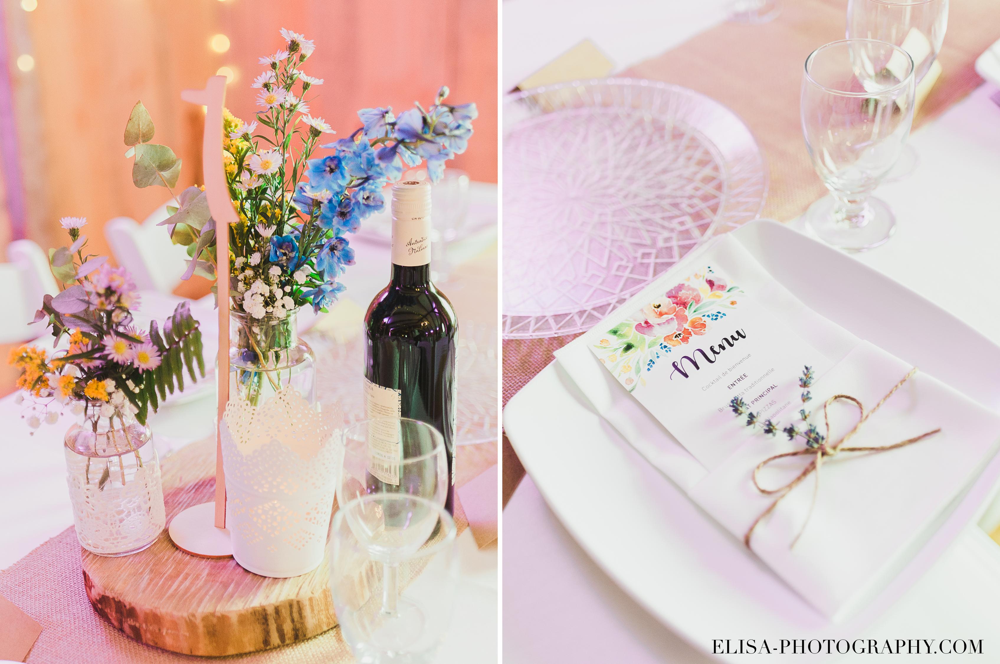 photo mariage grange rouge quebec reception centres de table lavande menu - Mariage coloré à la grange rouge de Brompton