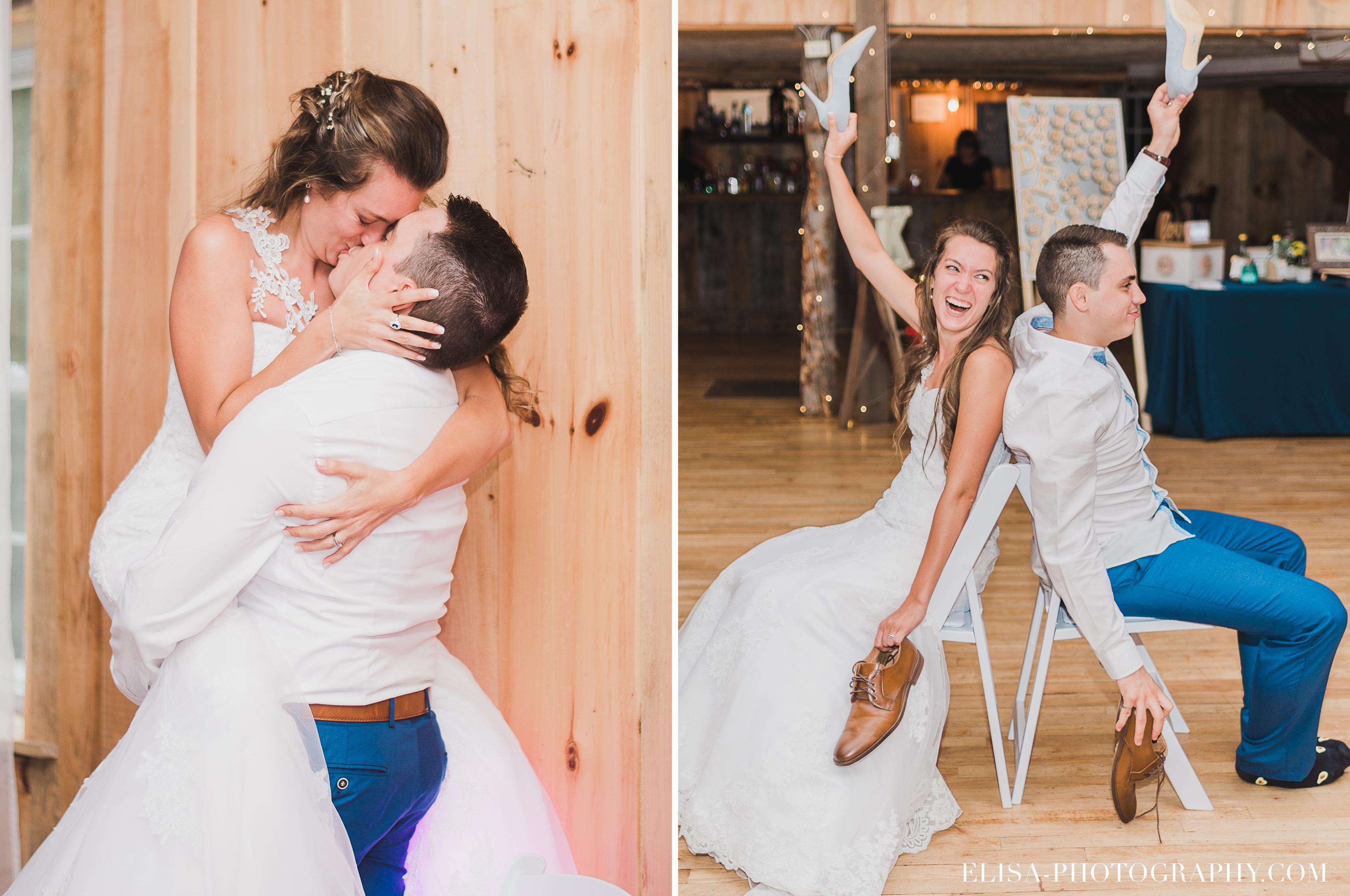 photo mariage grange rouge quebec reception jeux souliers - Mariage coloré à la grange rouge de Brompton