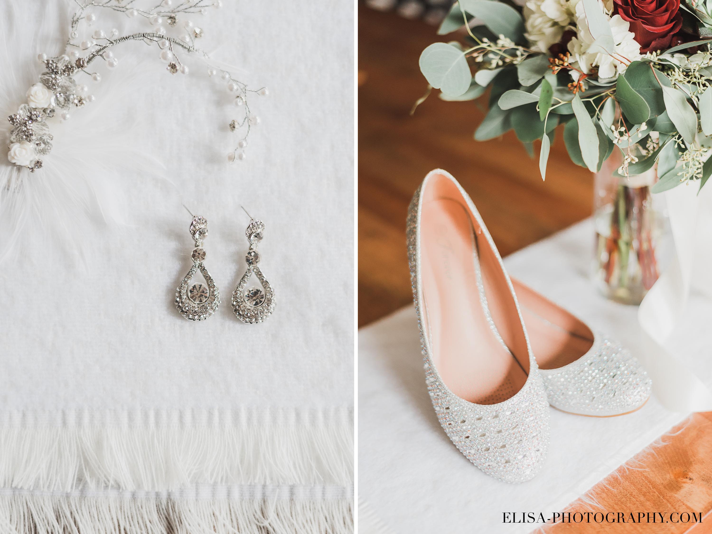 photo mariage ville quebec boucle orreilles souliers broche chale automne preparatifs ronde 1 - Mariage à saveur automnale à l'Espace Saint-Grégoire