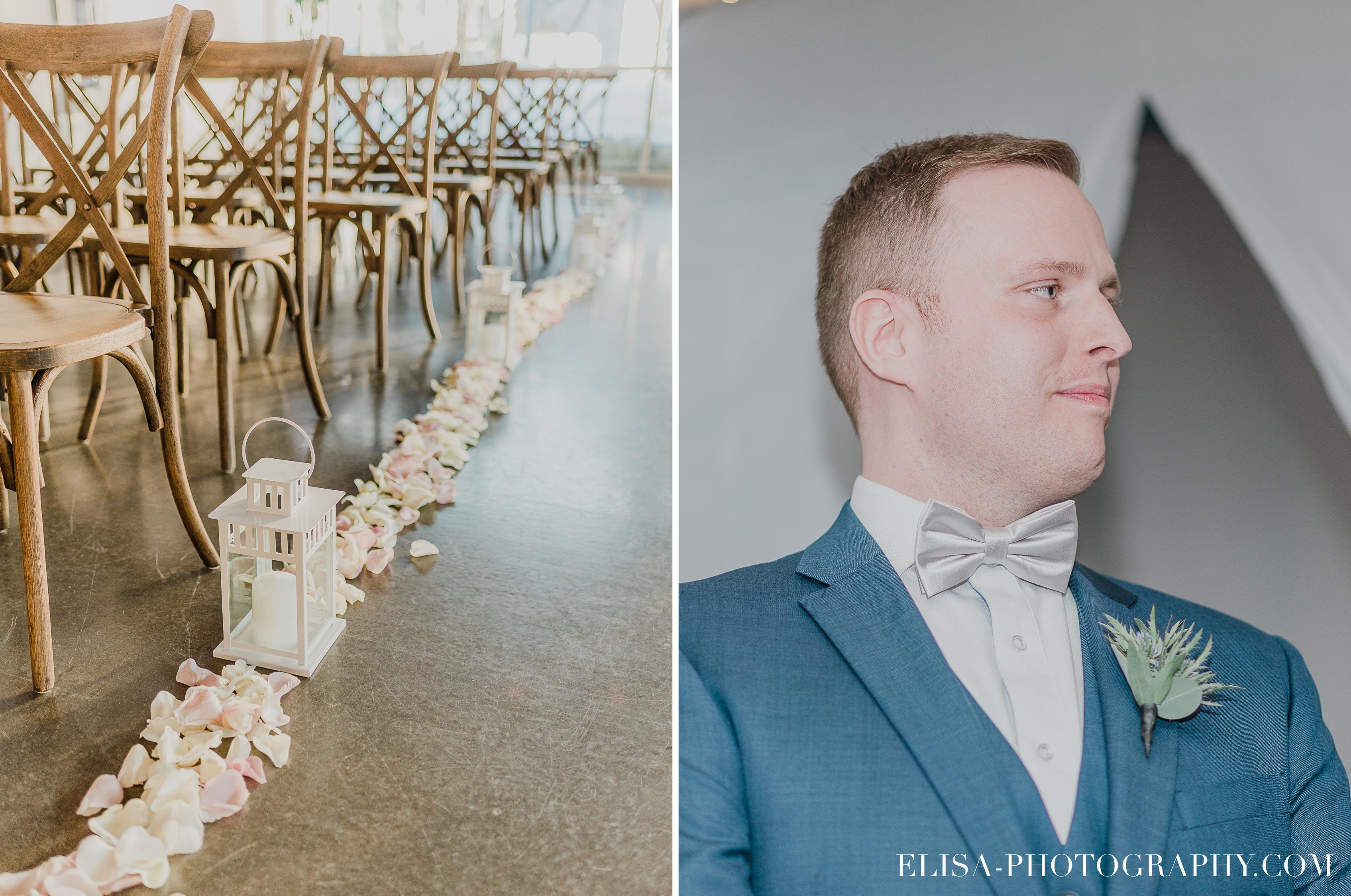 photo mariage quai cap blanc port de quebec ceremonie allee petales rose lanternes - Un chaleureux mariage hivernal à la salle du Quai du Cap Blanc, Québec