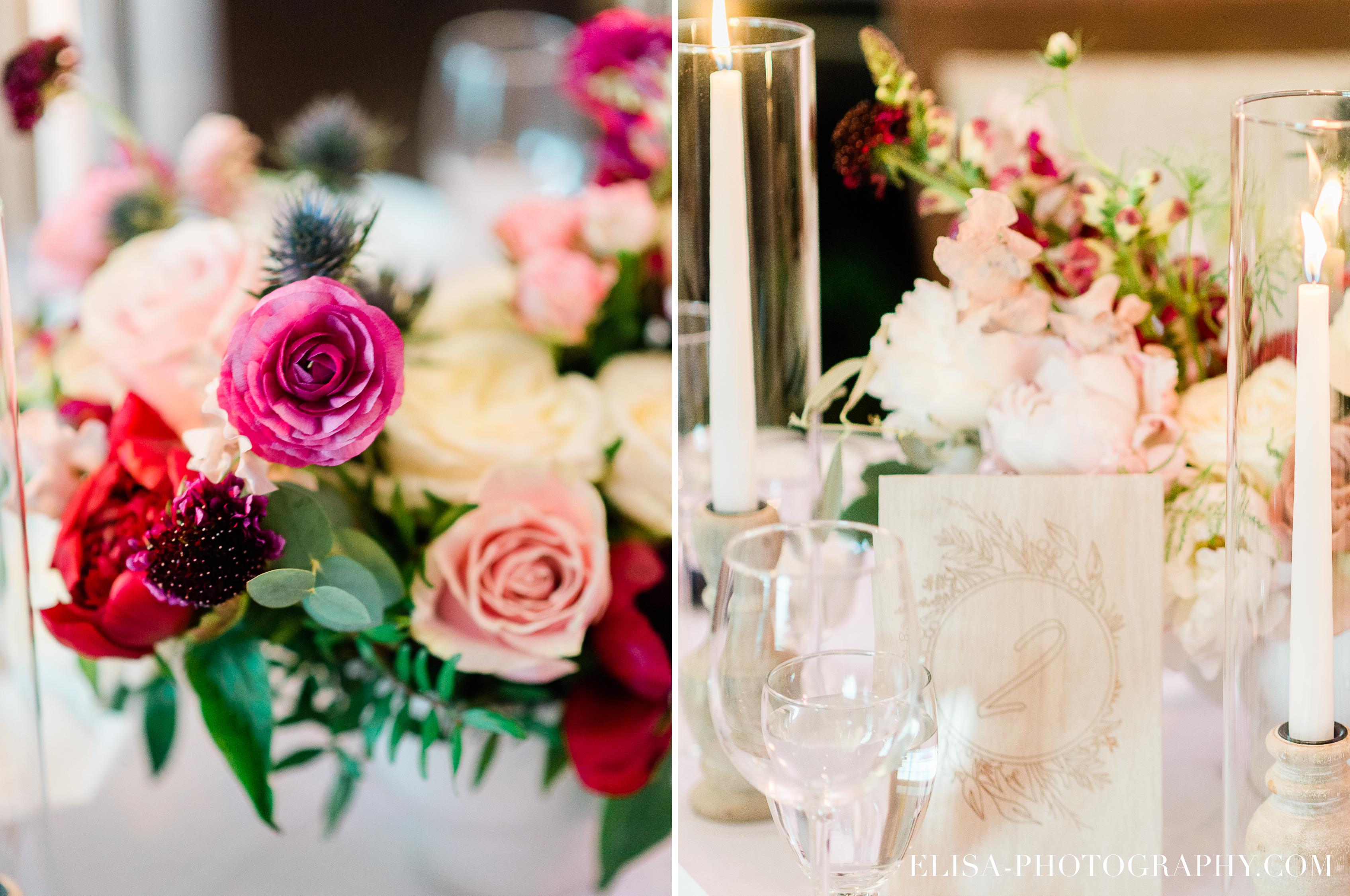 photo mariage domaine cataraqui quebec elisa photographe centres de table blush bourgogne rose - Mariage élégant et discret au coeur du magnifique Domaine Cataraqui, Québec