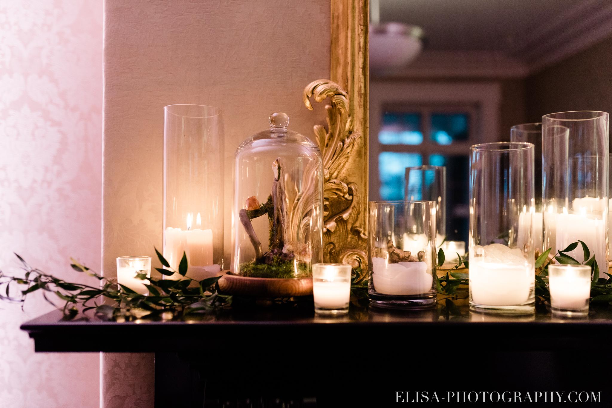 photo mariage reception chandelles foyer domaine cataraqui centres de table elisa photographe 1227 - Mariage élégant et discret au coeur du magnifique Domaine Cataraqui, Québec
