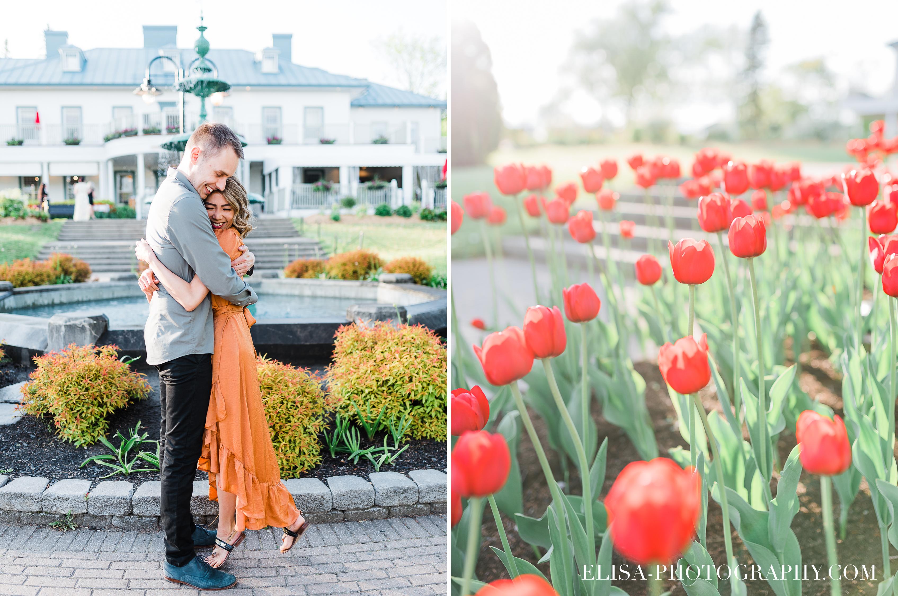 photos couple engagement fiancailles ville quebec canada chute montmorency pommiers elisa photographe mariage tulipes - Séance photo de couple au manoir Montmorency à Québec