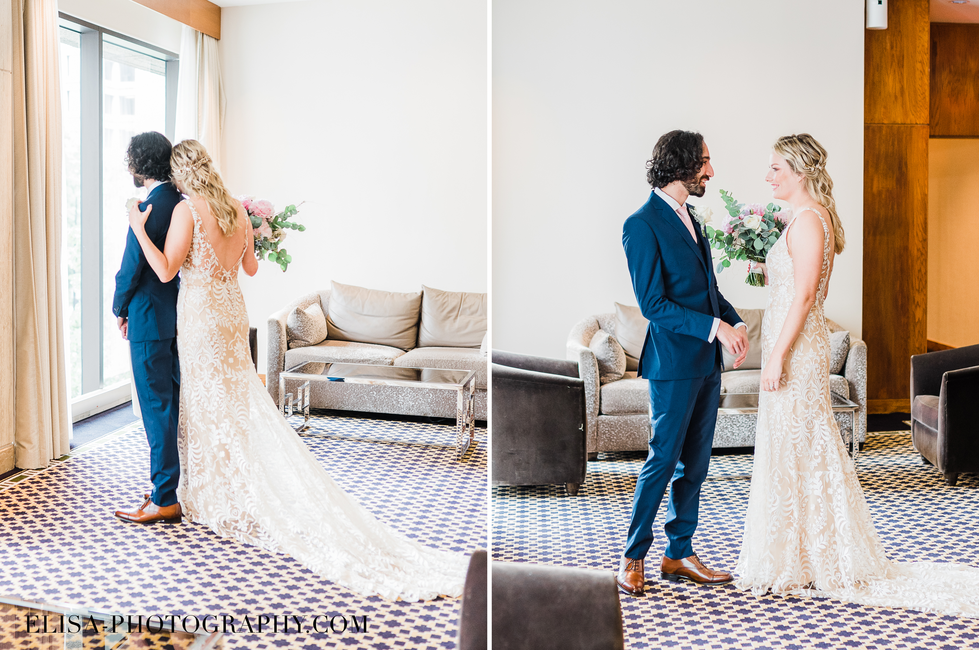 PHOTO mariage hotel omni montreal first look elisa photographe - An elegant wedding under the marquee at the Forest and Stream Club in Montreal